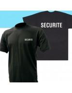 TEE-SHIRT NOIR MC IMPRIME SECURITE